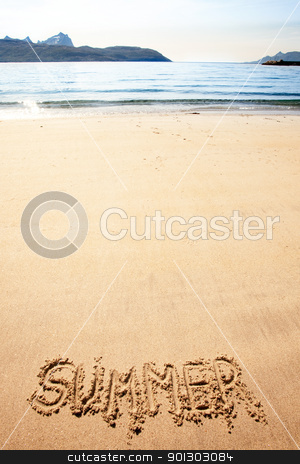 Summer Sand stock photo, The word summer written in the sand at a beach by Tyler Olson