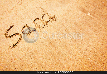 Summer Sand stock photo, The word sand written in the sand at a beach - background texture by Tyler Olson