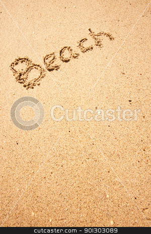 Beach Sand stock photo, Beach written in the sand on the coast  by Tyler Olson