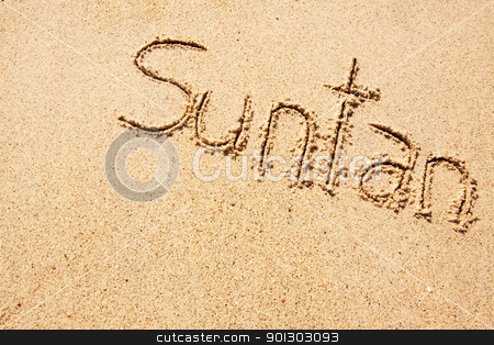 Suntan stock photo, The word suntan written in the sand on a beach by Tyler Olson