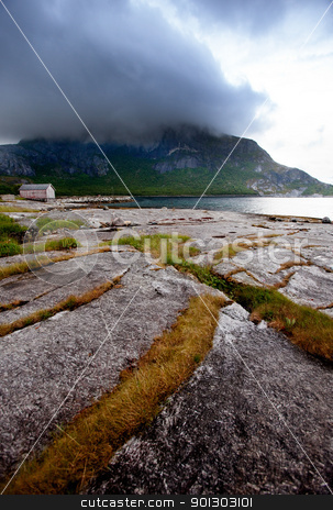 Northern Norway stock photo, A mountain sea landscape in northern Norway by Tyler Olson