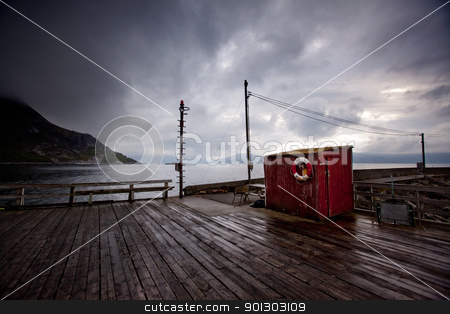 Fishing Village Detail stock photo, A detail of a small fishing village in northern Norway by Tyler Olson