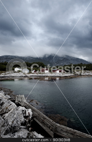Fishing Village stock photo, Boat houses in a small fishing village in Northern Norway by Tyler Olson