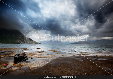 Sea Storm stock photo, A brewing storm on the ocean in northern Norway by Tyler Olson