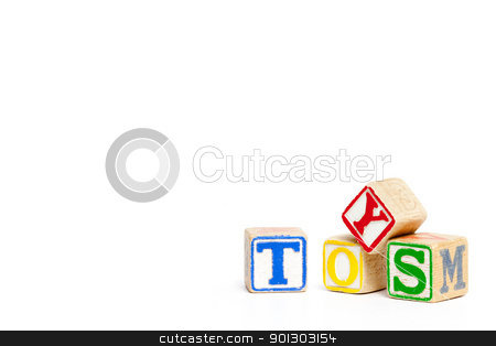 Wood Toy blocks stock photo, Toy blocks isolated on white spelling the word toys by Tyler Olson
