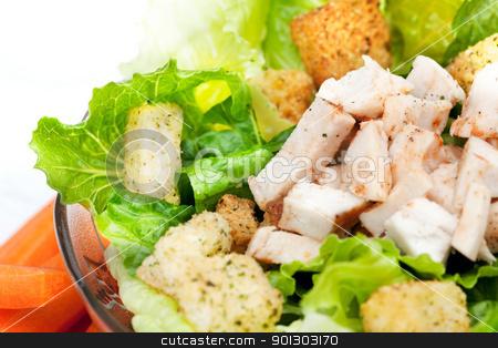 Salad Chicken Detail stock photo, A chicken caesar salad detail by Tyler Olson