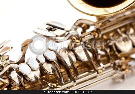Saxaphone Detail stock photo, A saxaphone detail isolated on white by Tyler Olson