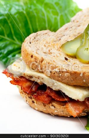 Western Sandwich stock photo, A Western Sandwich (Denver Sandwich) made of omelette and bacon. by Tyler Olson