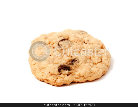 Isolated Cookie stock photo, An isolated chocolate chip cookie by Tyler Olson