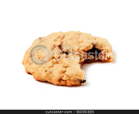 Isolated Cookie stock photo, An isolated chocolate chip cookie with a bite out of it by Tyler Olson