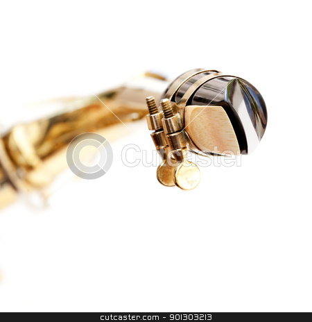 Saxophone Mouthpiece stock photo, A detail of a saxophone mouthpiece isolated on white by Tyler Olson