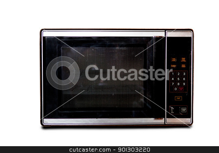 Retro Microwave stock photo, An old microwave isolated on white by Tyler Olson
