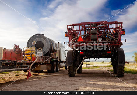 High Clearance Sprayer stock photo, A high clearance spraying being filled with chemical and water by Tyler Olson