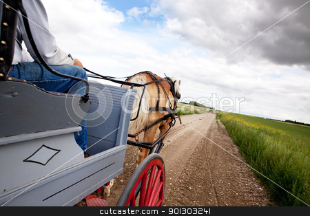 Horse and Cart stock photo, A horse pulling a cart accross a beautiful Saskatchewan landscape by Tyler Olson