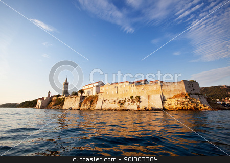 Medieval Town / Fortress stock photo, Medieval fortified town on the ocean, Rab, Croatia by Tyler Olson