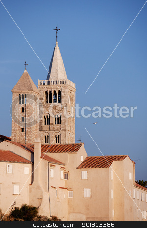 Old Stone Cathedral stock photo, An old stone cathedral on the Island of Rab, Croatia  by Tyler Olson