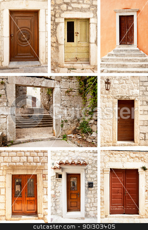 Old Wooden Door stock photo, A group of old wooden doors on very old stone buildings by Tyler Olson