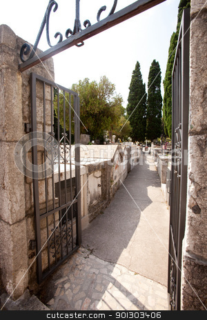 Stone Graveyard stock photo, An old stone graveyard in South Eastern Europe by Tyler Olson