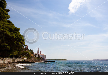 Rab Croatia Coast stock photo, The coast of the old city of Rab, Croatia on the island of Rab by Tyler Olson