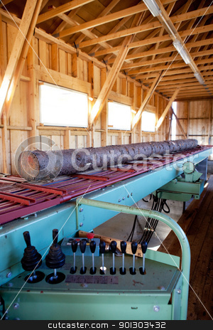 Lumber Mill stock photo, A lumber mill detail showing a log ready to be cut by Tyler Olson
