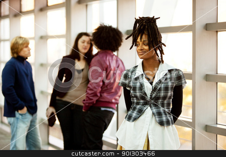 Female Portrait stock photo, A portrait of an African American woman with dreadlocks with friends in the background by Tyler Olson