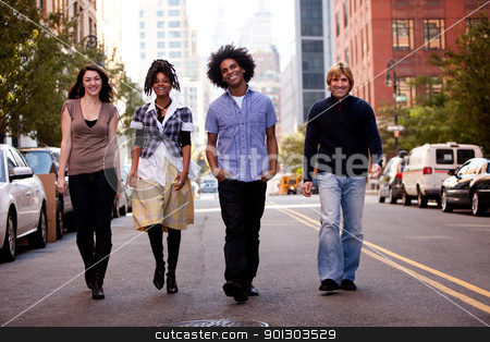 Friends stock photo, A group of friends on a street in a large city by Tyler Olson