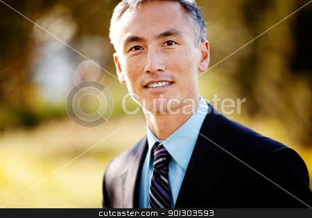 Business Portrait stock photo, A portrait of a friendly Asian looking business man by Tyler Olson