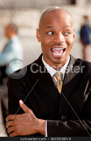 Surprise Business Man stock photo, A surprised business man looking to the side by Tyler Olson
