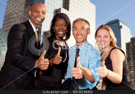 Successful Business stock photo, a group of business people giving a thumbs up sign by Tyler Olson