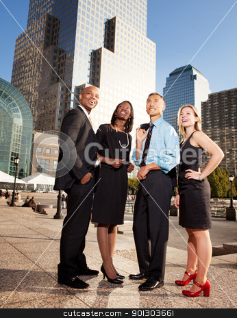 Business Dream stock photo, A group of successful busienss people looking up and to the side - concept image of success or dreams by Tyler Olson