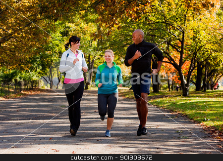 Jogging stock photo, Three young adults jogging in the park by Tyler Olson