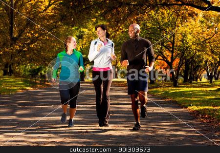 Fall Jog Park stock photo, Three people jogging in the park on a beautiful fall day by Tyler Olson