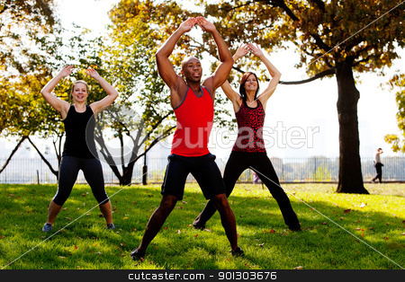 Jumping Jacks stock photo, A group of people doing jumping jacks in the park by Tyler Olson