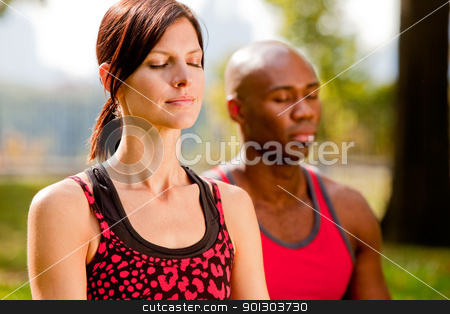 Meditate stock photo, A group of people meditation in a city park by Tyler Olson