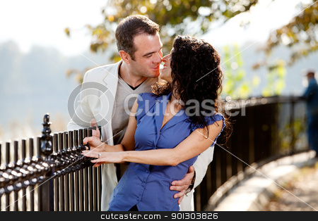 Park Kiss stock photo, A happy couple kissing in the park on a beautiful day by Tyler Olson