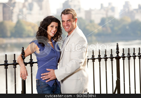 Smile Couple stock photo, A happy smiling couple in the park by Tyler Olson
