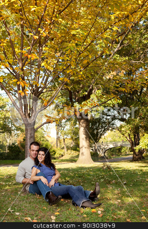 Marriage stock photo, A happy couple relaxing in the park on grass by Tyler Olson