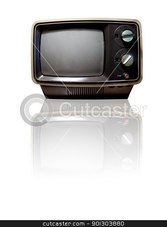 Retro TV with Reflection stock photo, Old retro TV isolated on white with reflection - clipping path by Tyler Olson