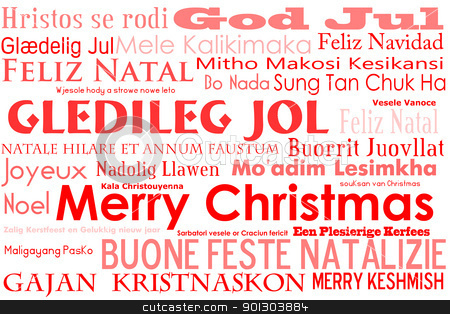 Merry Christmas stock photo, A merry christmas tag cloud with many different languages saying merry christmas by Tyler Olson