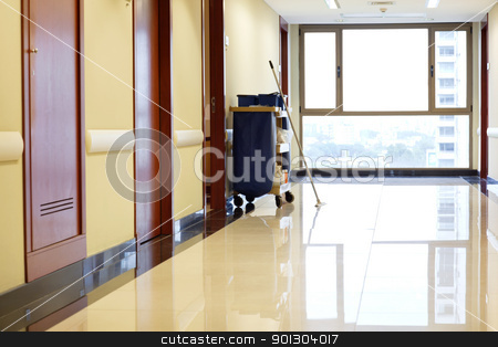 Empty corridor of hospital stock photo, Interior of empty corridor of hospital by Tyler Olson