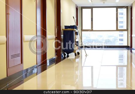 Empty corridor of hospital stock photo, Interior of empty corridor of hospital by Tyler Olson