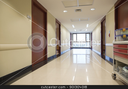 Empty passageway of hospital stock photo, Clean reflective passageway of hospital with window by Tyler Olson
