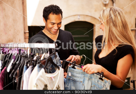 Shopping Couple Europe stock photo, A happy couple shopping in a small street in France, Europe by Tyler Olson