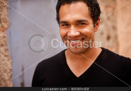 Portrait Black Male stock photo, A portrait of a happy european black male by Tyler Olson
