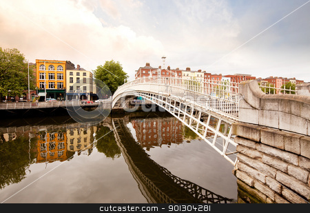 Hapenny Bridge, Dublin Ireland stock photo, A famous toursit attraction in Dublin, Ireland, Ha'penny Bridge. by Tyler Olson