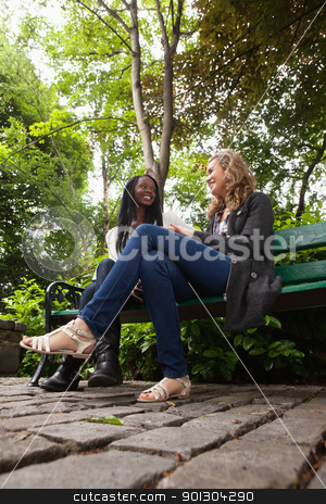 Young females talking to each other in park stock photo, Two young female friends sitting on bench in the park and chatting by Tyler Olson