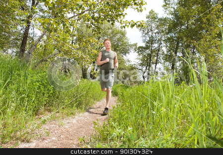 Man jogging in forest stock photo, Handsome man in sportswear running in the forest by Tyler Olson