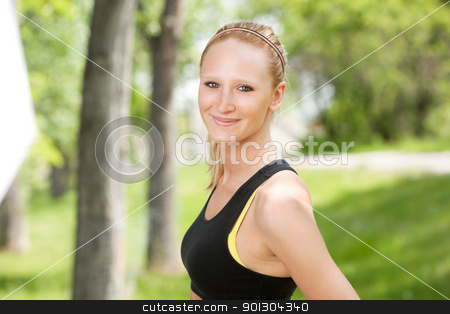 Close-up of a smiling woman stock photo, Beautiful woman smiling against blur background a by Tyler Olson