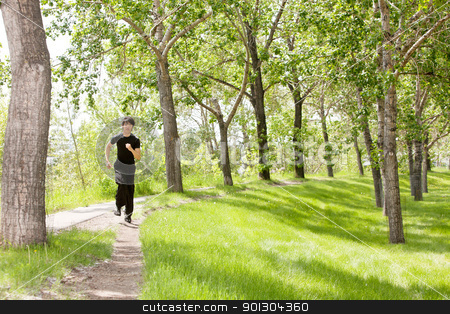 Man jogging stock photo, Portrait of handsome man running in speed by Tyler Olson