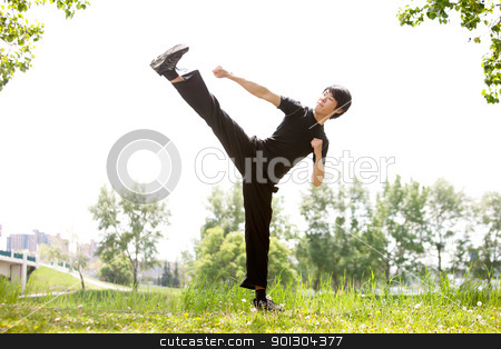 Martial artist with his high kick stock photo, Young Martial artist with his high side kick against blur background by Tyler Olson